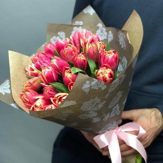 Букет Тюльпаны Розовые Пионы