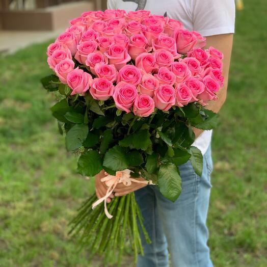 51 розовая роза 80см «Ревиваль»
