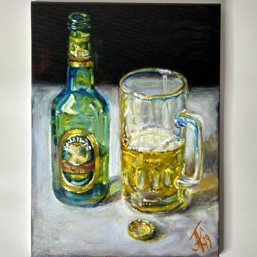 """Картина """"Бутылка, кружка, пробка"""" 30*40 см. масло, холст"""