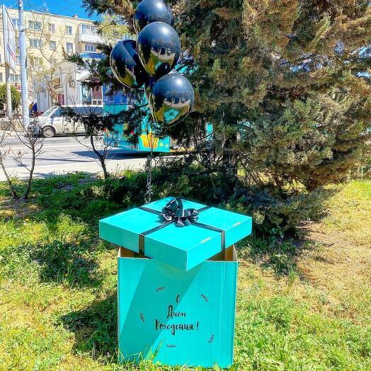 Коробка сюрприз с бантом и надписью без шаров
