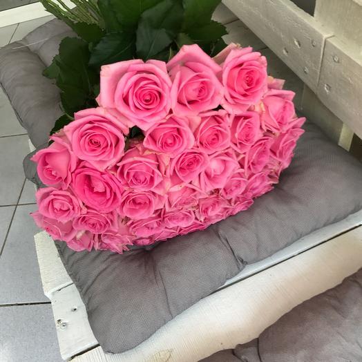 Букет из 34 розовых роз 60 см: букеты цветов на заказ Flowwow