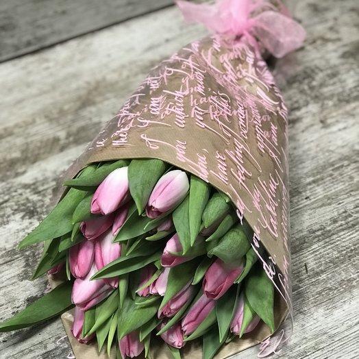 Розовые тюльпаны 15 шт