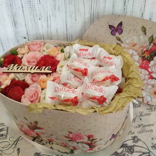 Милая композиция в стильной упаковке: букеты цветов на заказ Flowwow