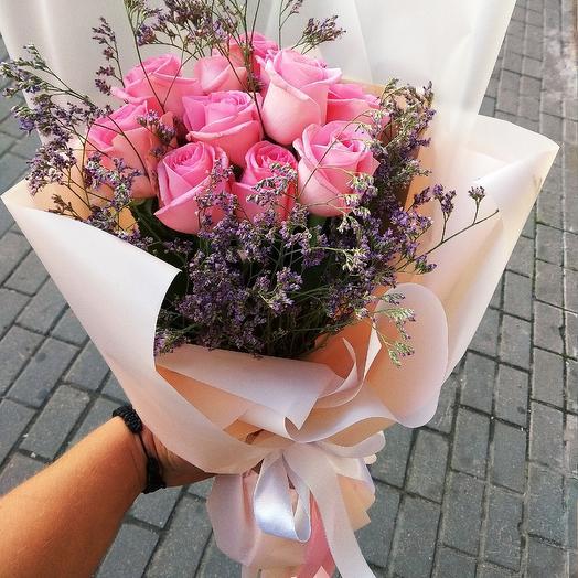 Букет из 11 нежных Розовых роз: букеты цветов на заказ Flowwow