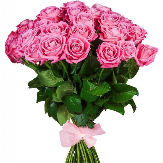Букет из 25 розовых роз с лентой: букеты цветов на заказ Flowwow