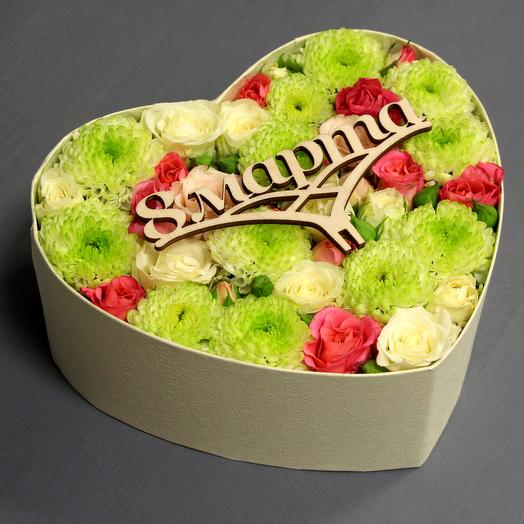 "Весенняя коробочка ""8 МАРТА"": букеты цветов на заказ Flowwow"