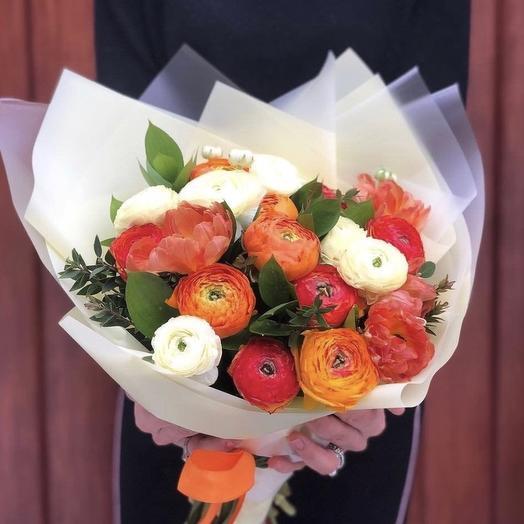 Букет из 29 Ранункулюсов: букеты цветов на заказ Flowwow