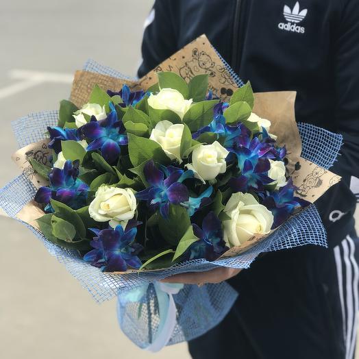 Букет из роз и орхидей: букеты цветов на заказ Flowwow