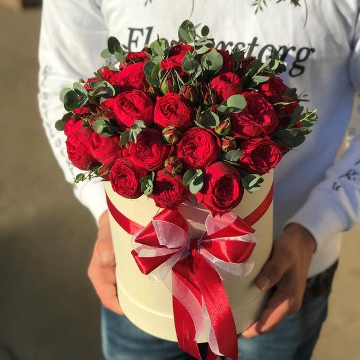 Коробки с цветами. Пионовидная роза Ред Пиано с эвкалиптом. N608: букеты цветов на заказ Flowwow