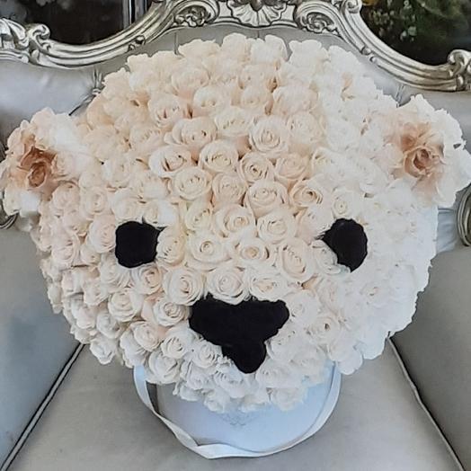 Медведь из 201 розы: букеты цветов на заказ Flowwow