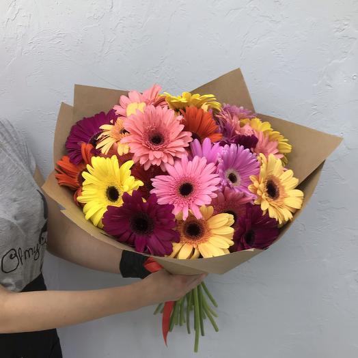 Моно букет из 25 гербер микс N18: букеты цветов на заказ Flowwow