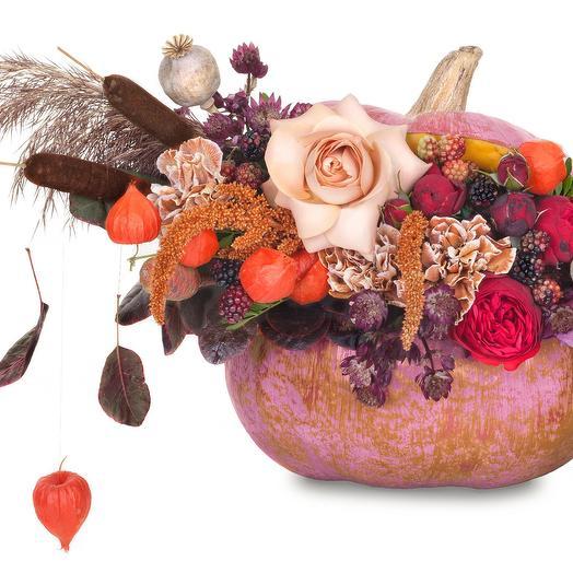 Осеняя композиция в тыкве: букеты цветов на заказ Flowwow