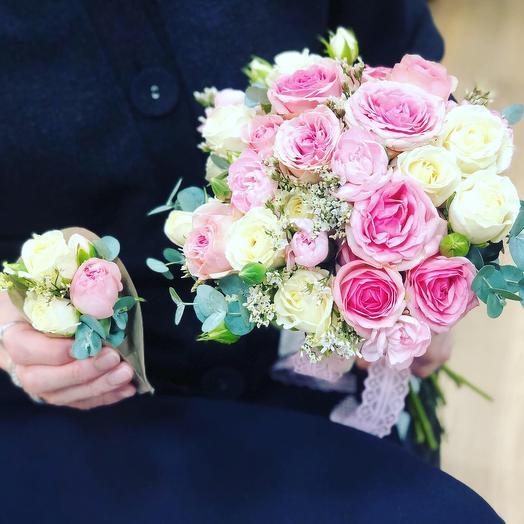 Букет невесты 👰 +бутоньерка жениха 🤵