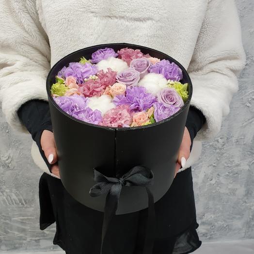Шляпная коробка из лунной гвоздики, оушен сонг, эустомы Коко Шанель: букеты цветов на заказ Flowwow