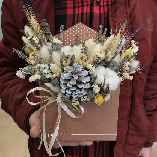 Конвертик - комплимент с сухоцветами