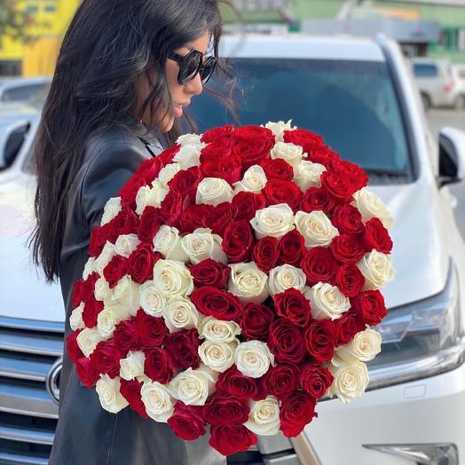 Монобукет 101 Роза 50 см
