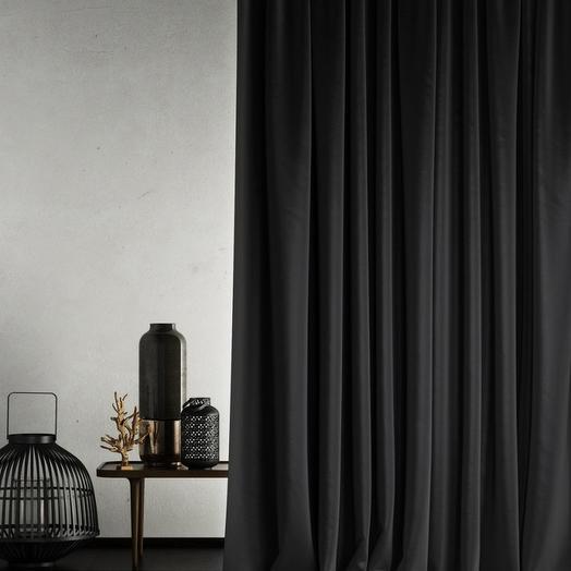 Негорючая портьера Бали Черный, 145х290 см - 1 шт