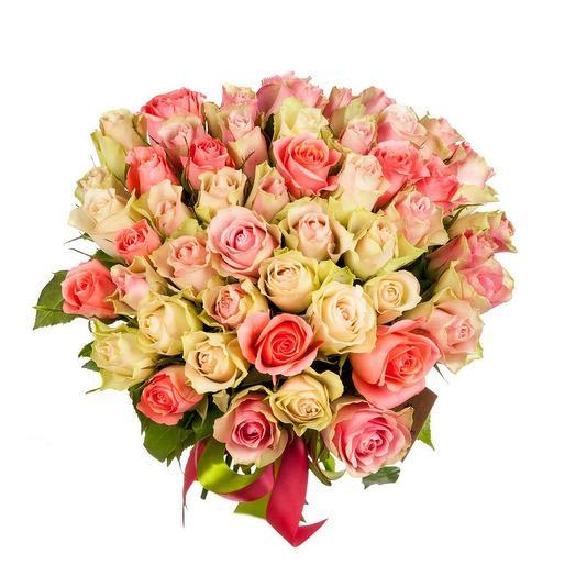 51 белая и розовая роза (40 см)