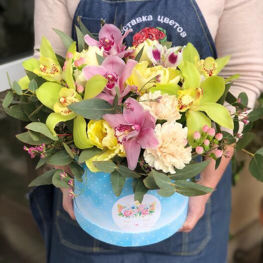 Яркая коробка с орхидей
