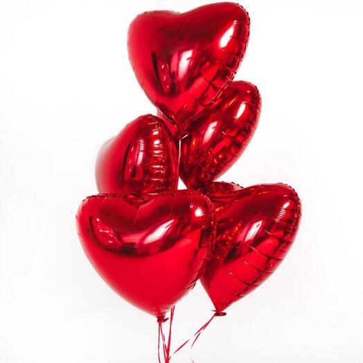 Воздушные шарики сердце 5 штук