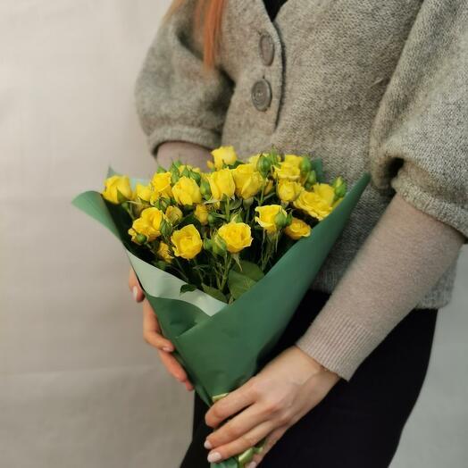 Букет Лимончелло 9 из желтых кустовых роз