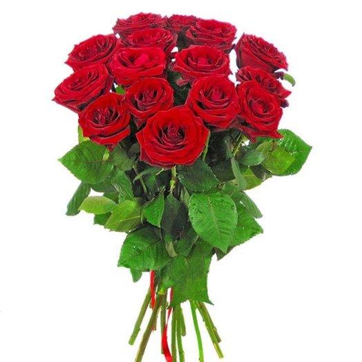15 красных роз 50 см