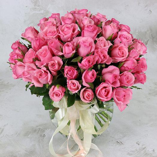 Букет из 51 розовой розы 40 см