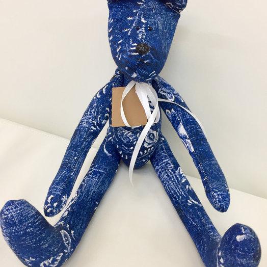 Синий медведь ручной работы: букеты цветов на заказ Flowwow