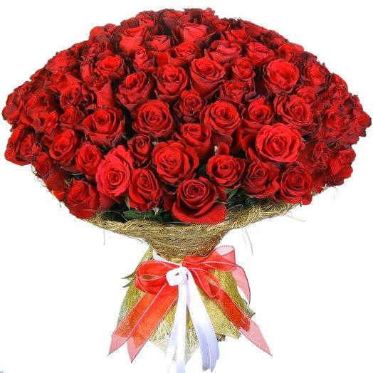 """101 красная роза """"Апер Класс"""": букеты цветов на заказ Flowwow"""