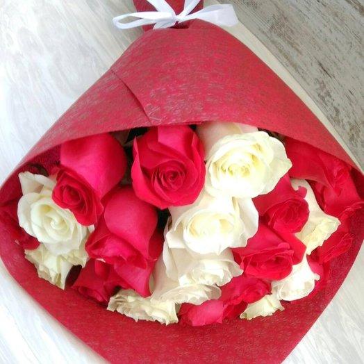 """""""Белые+красные"""": букеты цветов на заказ Flowwow"""
