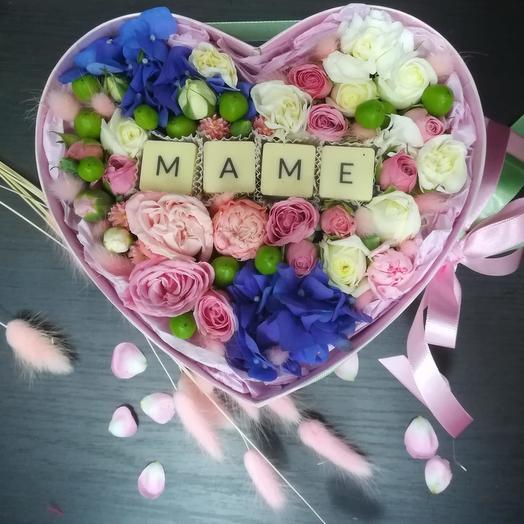 """Сердце """"Маме"""": букеты цветов на заказ Flowwow"""