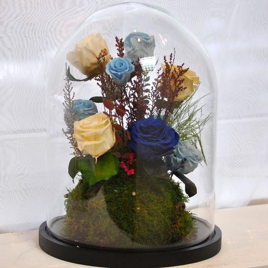 "КОМПОЗИЦИЯ ""СПЯЩАЯ КРАСАВИЦА"" РОЗЫ СТАБИЛИЗИРОВАННЫЕ: букеты цветов на заказ Flowwow"