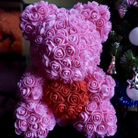 Хит! Мишка с сердцем: букеты цветов на заказ Flowwow
