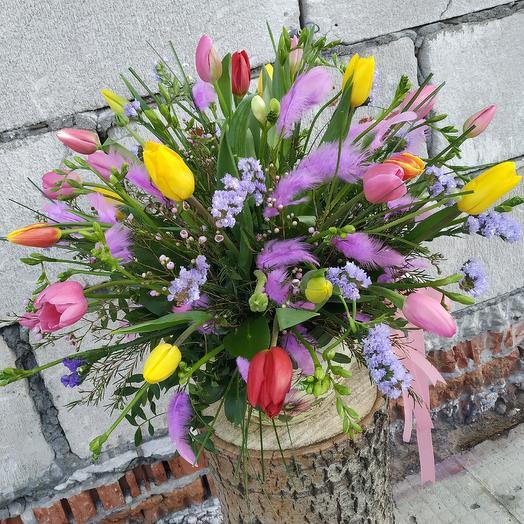 """Композиция в керамике """"Весеннее настроение"""": букеты цветов на заказ Flowwow"""