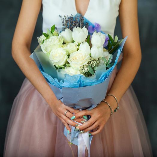 """Букет из тюльпанов, роз и лаванды """"Нежная моя"""": букеты цветов на заказ Flowwow"""