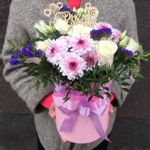 Сборный букет в шляпной коробке: букеты цветов на заказ Flowwow