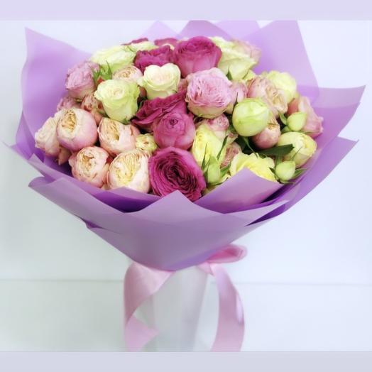 Микс из пионовидной кустовой розы: букеты цветов на заказ Flowwow