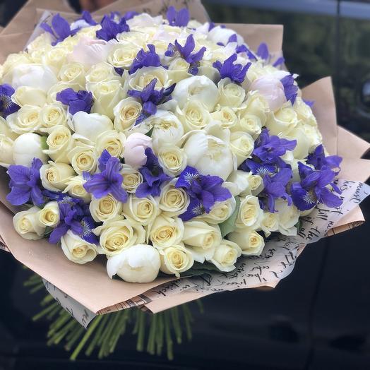 101 Белая Роза, Пионы, ирис: букеты цветов на заказ Flowwow