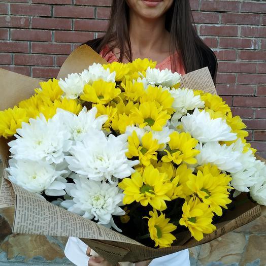 Солнечный букет из кустовой хризантемы: букеты цветов на заказ Flowwow