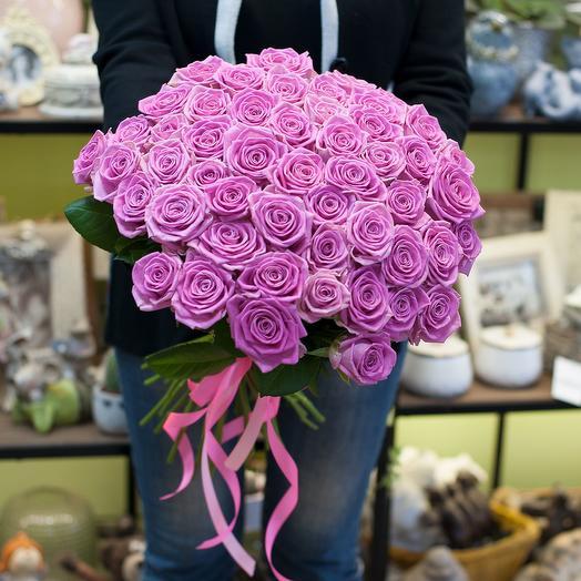 Букет из розовых роз (51 роза)