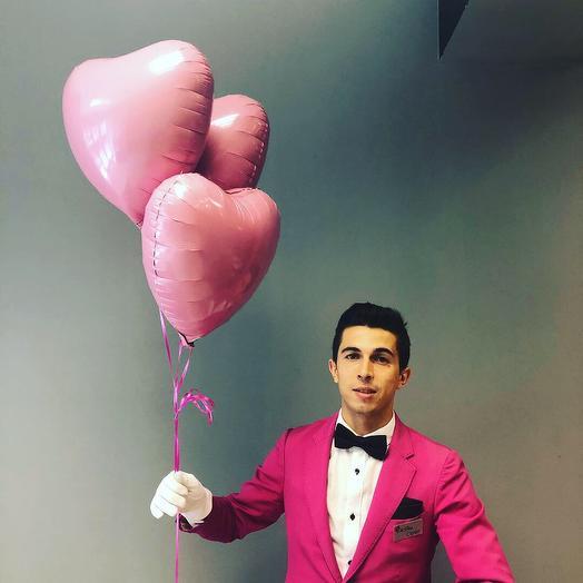3 розовых воздушных сердца с Эффектной доставкой: букеты цветов на заказ Flowwow