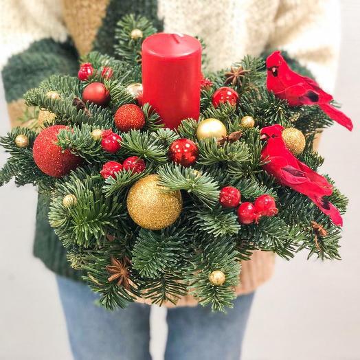 Настольная новогодняя композиция: букеты цветов на заказ Flowwow