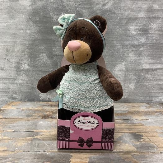 Игрушка «Медведица в мятном платье»: букеты цветов на заказ Flowwow