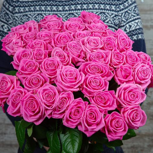 Букет из 51 розовой розы, длина 50см