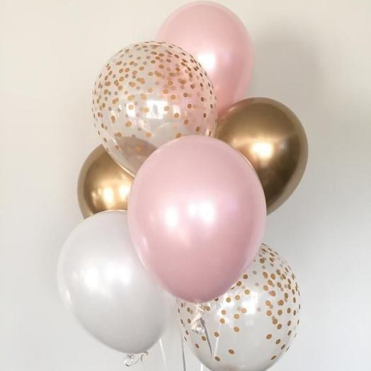 Каскад из 7 гелиевых шаров «Розовый жемчуг»