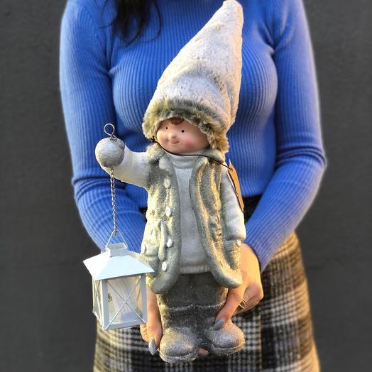 Сувенир керамический Мальчик с фонарем