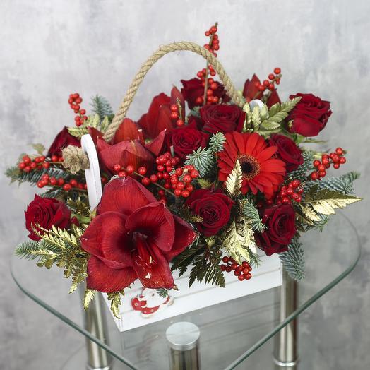 Ящик с цветами «Бордовый микс»