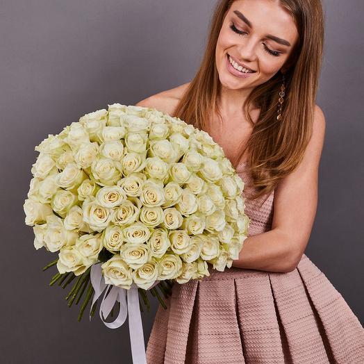 101 белая роза премиум (к каждому заказу добавим вазу.см условии в описании)