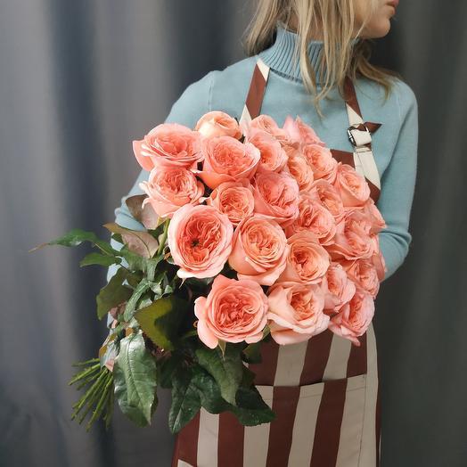 """Букет """"25 пионовидных коралловых роз"""""""