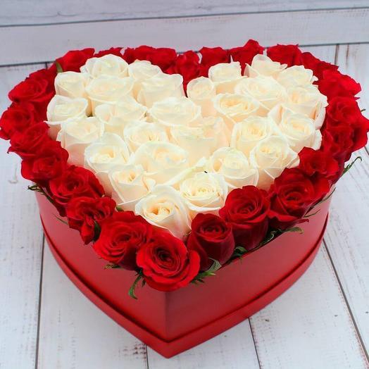 Розы премиум в виде сердца